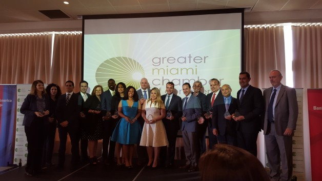 Armando Caceres accepts accepts the award for becoming a 2016 Business of the Year Finalist in South Florida on behalf of All Florida Paper from the Greater Miami Chamber of Commerce.