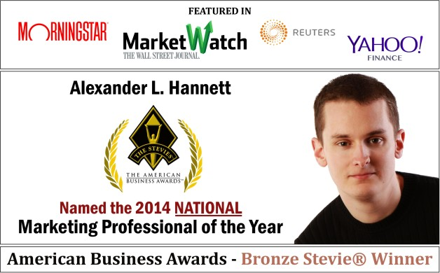 Alexander L. Hannett, the Manager of Corporate Strategy and Marketing at All Florida Paper was Recognized as the Bronze Stevie® Winner for 2014 National Marketing Professional of the Year at the American Business Awards™ in Chicago on June 13, 2014